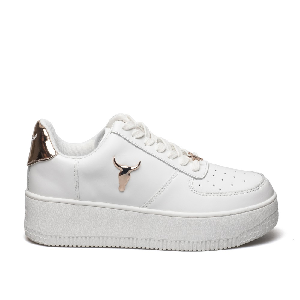 WINDSOR SMITH ΓΥΝΑΙΚΕΙΑ ΔΕΡΜΑΤΙΝΑ SNEAKERS RICH ΑΣΠΡΑ