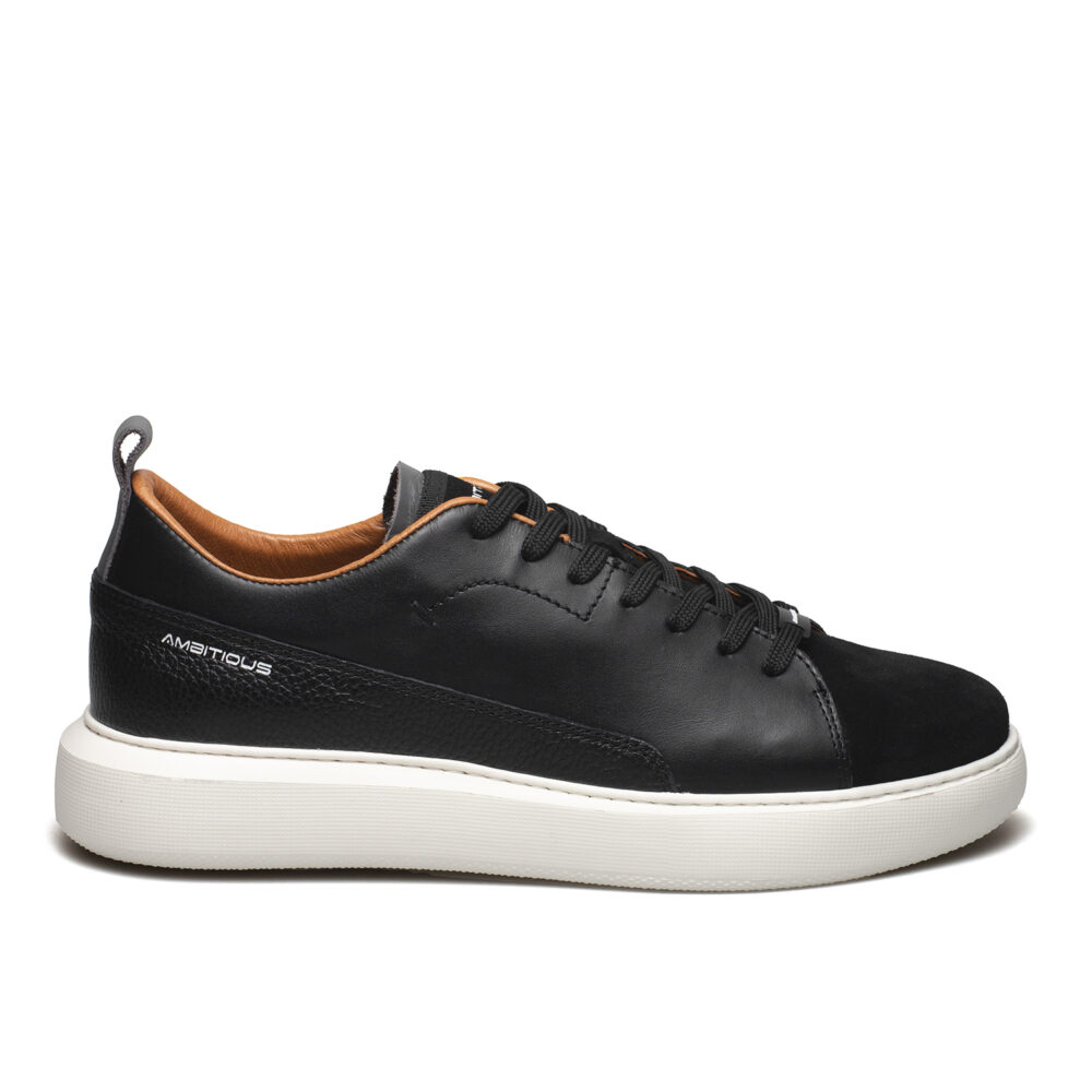 AMBITIOUS ΑΝΔΡΙΚΑ ΔΕΡΜΑΤΙΝΑ SNEAKERS 10820 ΜΑΥΡΑ